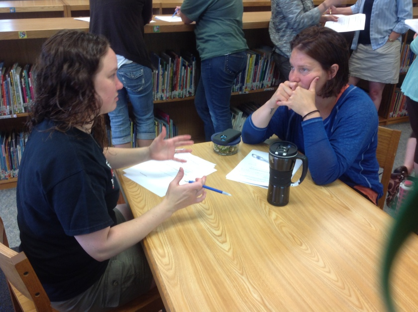 Once we developed my unit as a team, teachers worked together to develop a unit of their own. Amy and Val, our music and art teachers, respectively, discuss possible ideas for big goals in their classrooms.